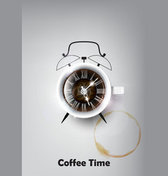 a realistic cup of black coffee coffee time vector image