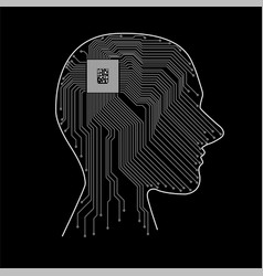 Abstract human head with cpu circuit board vector