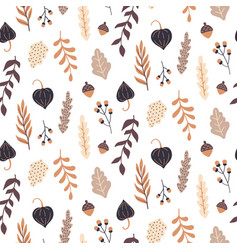 Autumn seamless pattern with wild floral elements vector