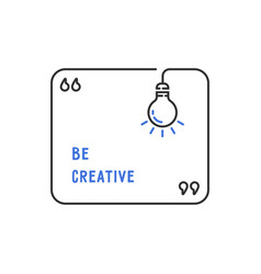 be creative quotation template with lineart vector image