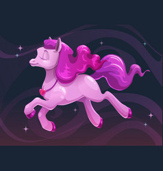 Beautiful little cartoon flying pink pony vector