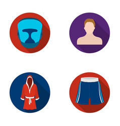 Boxing sport mask helmetboxing set collection vector