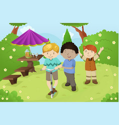 Boys playing in a park vector