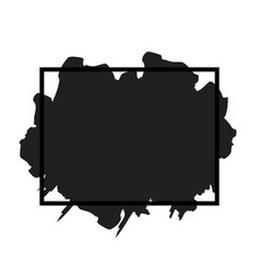 Brush paint stroke grunge stain ink in frame vector