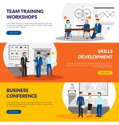 Business Training Consulting 3 Horizontal Banners vector
