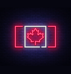canada flag neon sign canada flag symbol vector image
