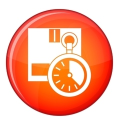 Cardboard box with stopwatch icon flat style vector image