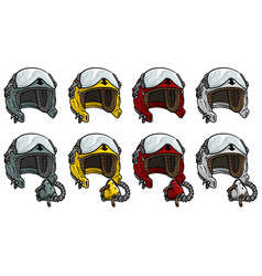Cartoon aviator pilot helmet icon set vector