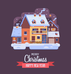Christmas card with downtown winter house by night vector