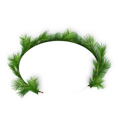 christmas oval frame with coniferous twigs vector image