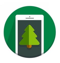 Circle Christmas icon flat tree vector