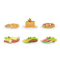 Collection different food dishes set delicious vector