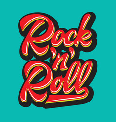 Color calligraphic inscription rock and roll vector