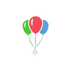 Color inflatable balloons tied to each other vector