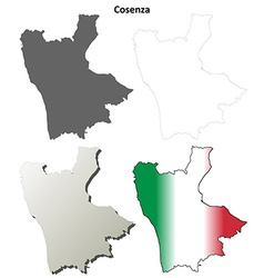 Cosenza blank detailed outline map set vector