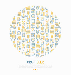 craft beer concept in circle with thin line icons vector image