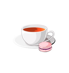 Cup of tea with macaron vector