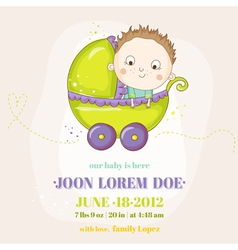 Cute Baby Boy in a Carriage - Baby Shower vector