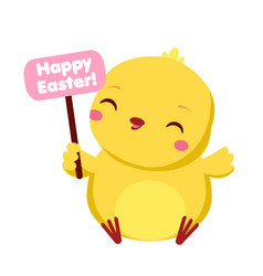 Cute chicken with happy easter banner cartoon vector