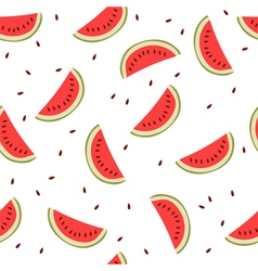 Cute seamless background with watermelon slices vector