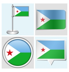 Djibouti flag - sticker button label flagstaff vector