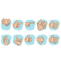 doodle hand sign icons vector image