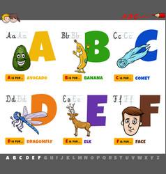Educational cartoon alphabet letters for children vector
