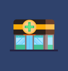 facade of pharmacy pharmacy store icon flat vector image