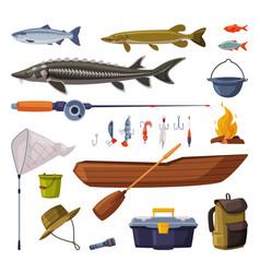 Fishing equipment set freshwater fishes fishing vector