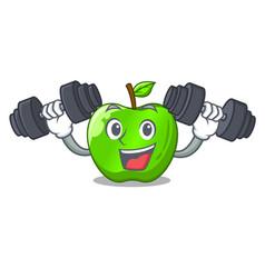 Fitness cartoon of big shiny green apple vector