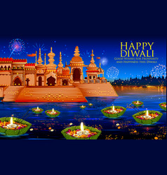 Floating diya in river on happy diwali holiday vector