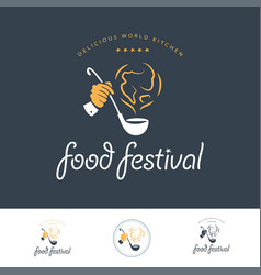 Food festival logo template in different color vector