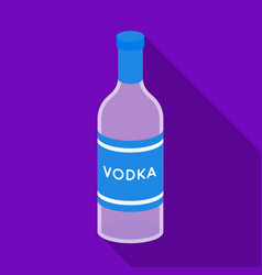 Glass bottle of vodka icon in flat style isolated vector