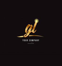 gold alphabet letter gl g l logo combination icon vector image