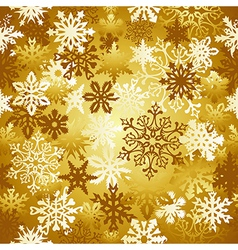 Gold Christmas snowflakes pattern vector image