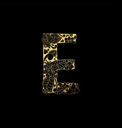 Golden ornamental alphabet letter e font vector