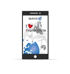 Greek island cephalonia on mobile phone in vector