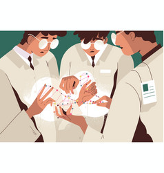 group scientists or researchers in lab coats vector image