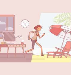 Half of a woman leaps to vacation vector