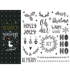 Hand drawn Christmas holiday collection vector