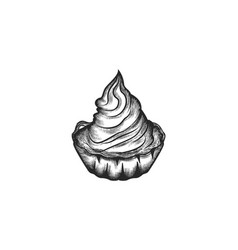 hand drawn cupcake ice cream logo designs vector image