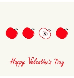 Happy Valentines Day Love card Red apple set in a vector image vector image