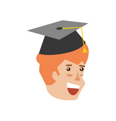 head of young man with hat graduation vector image