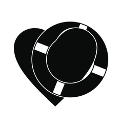 Heart with lifeline black simple icon vector