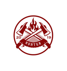 Hunter logo design with weapon template vector