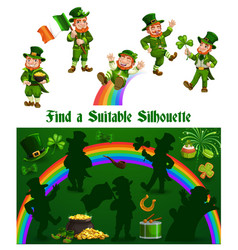 kids game shadow match with funny leprechauns vector image