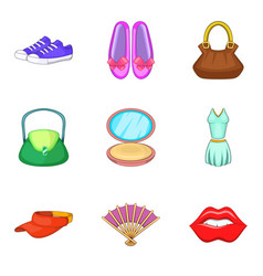 Ladies shopping icons set cartoon style vector