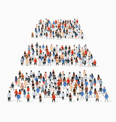 Large group people in shape pyramid vector