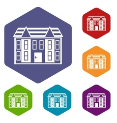 Large two-storey house icons set vector
