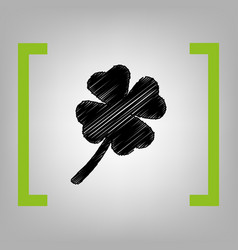 Leaf clover sign black scribble icon in vector
